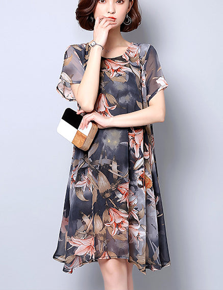 Women Round Neck Short Sleeve Floral Print Chiffon Plus Size Midi Dress
