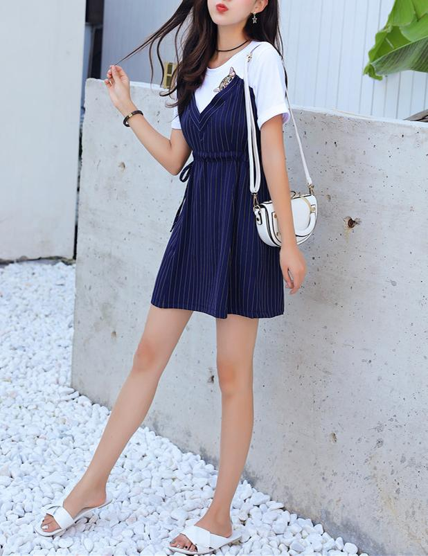 Short Sleeve Slim Waist Navy Striped Casual Mini Dress