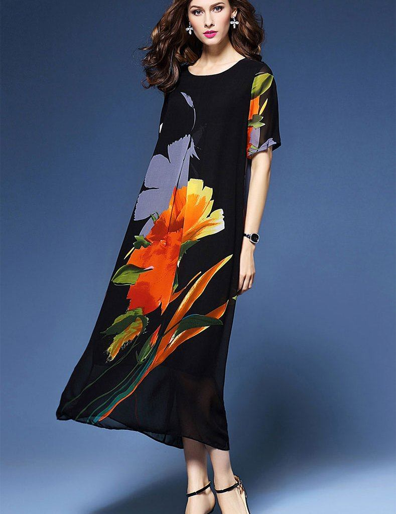 Middle-Aged Short Sleeve Print Silk Black Loose Maxi Dress