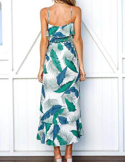 A-Line Keyhole Split Leg Green Print Chiffon Maxi Dress - Fancyqube