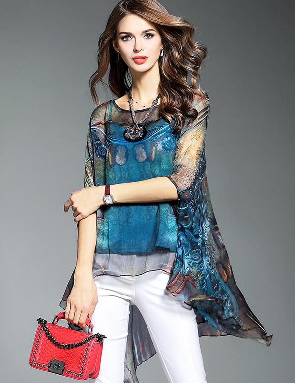 High Low Two-Piece Half Sleeve Irregular Hem Chiffon Graphic Blouse
