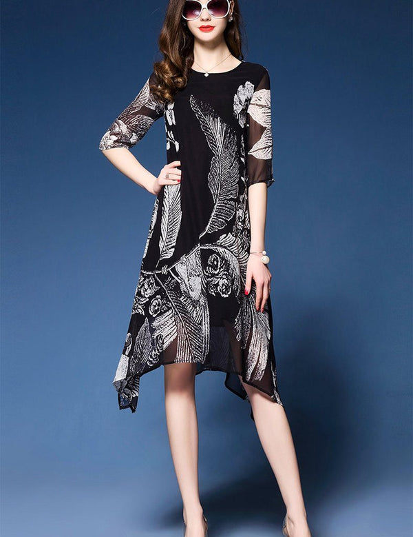 A-Line Round Neck Half Sleeve Black Print Midi Dress