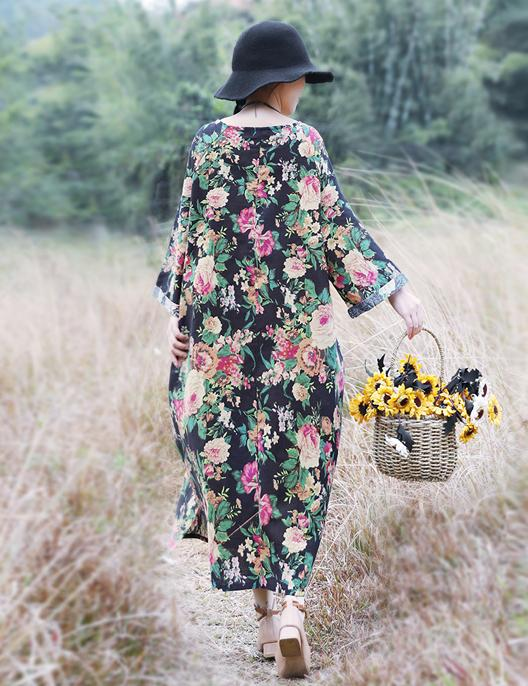 Comfortable Cotton Linen Button Printed Long-Sleeved Slim Maxi Dress