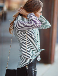 Lapel Neck Long Sleeve Vertical Striped Blouse