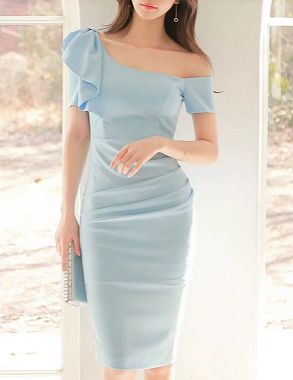 One Shoulder Ruffle Short Sleeve Solid Bodycon Party Midi Dress