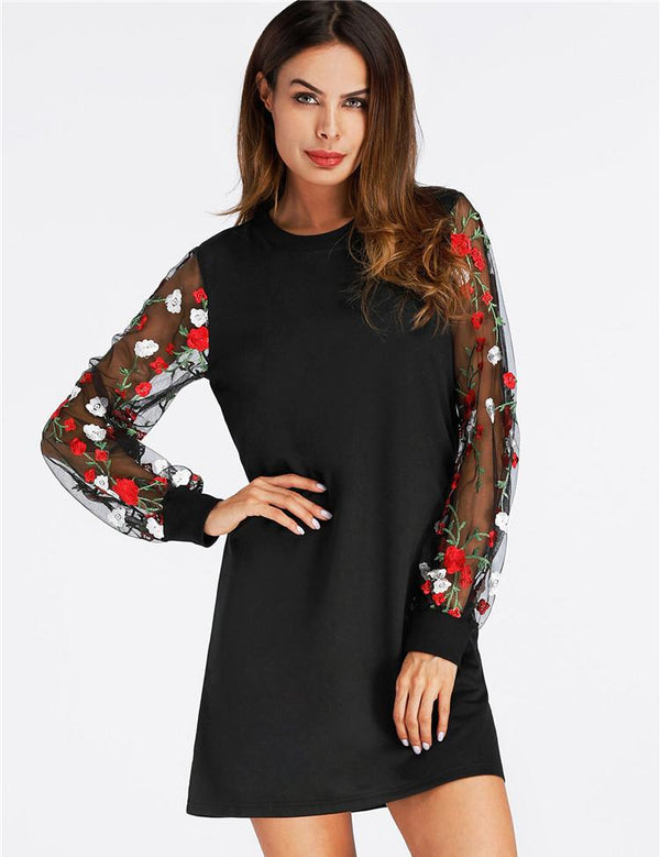 Round Neck Embroidered Mesh Sleeve Black Mini Dress