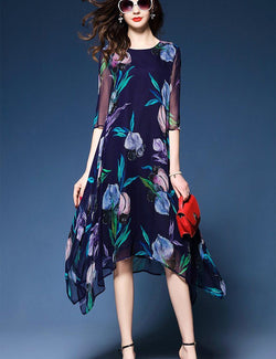 Half Sleeve Irregular Hem Floral Print Silk Blue Midi Dress
