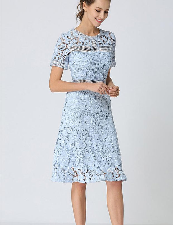 New Slim Short Sleeve Ruffle Hem Blue Hollow Lace Blue Midi dress