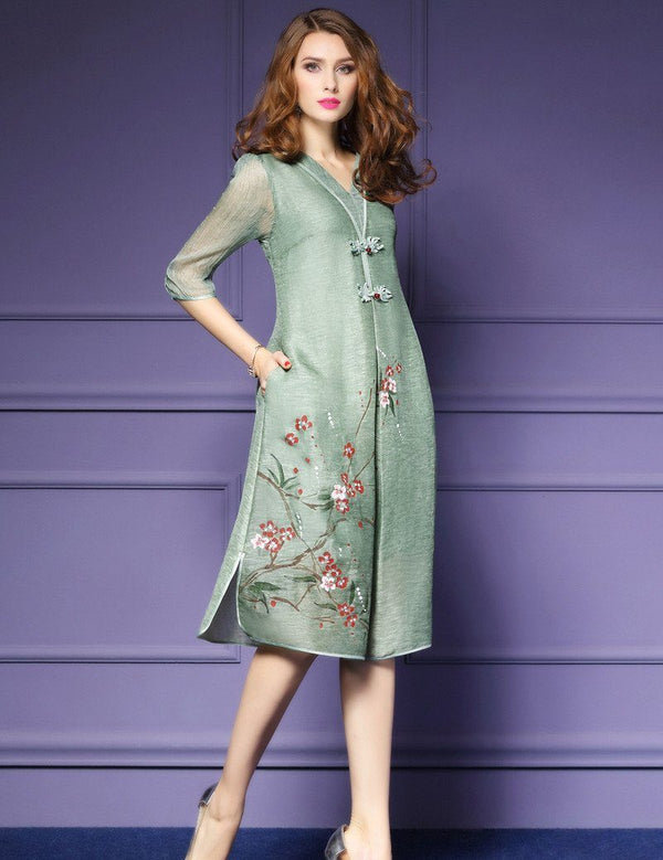 V-Neck Hand-Painted Linen Silk Half Sleeve Pockets Midi Dress