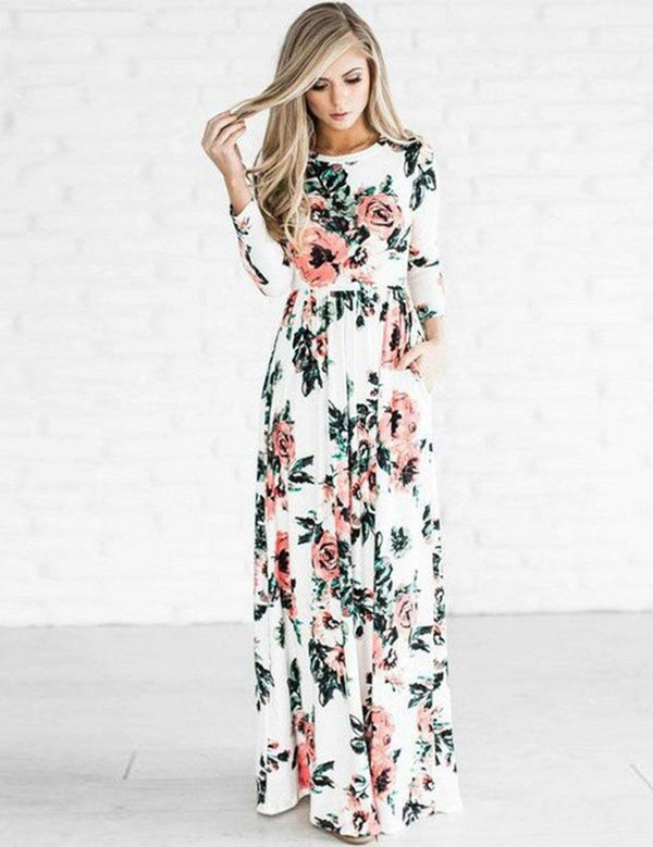 Long Floral Printed Long Sleeve Maxi Dress - Fancyqube