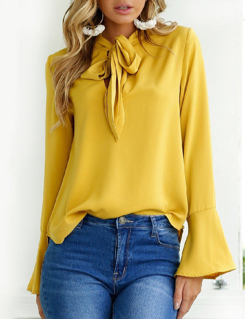 Autumn Spring Chiffon Tie Collar Bowknot Plain Bell Sleeve Long Sleeve Blouse