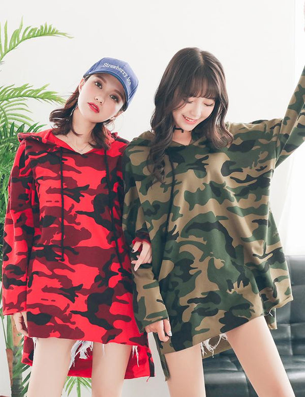 Casual Loose Long Sleeve Camouflage Hooded Sweatshirt Dress