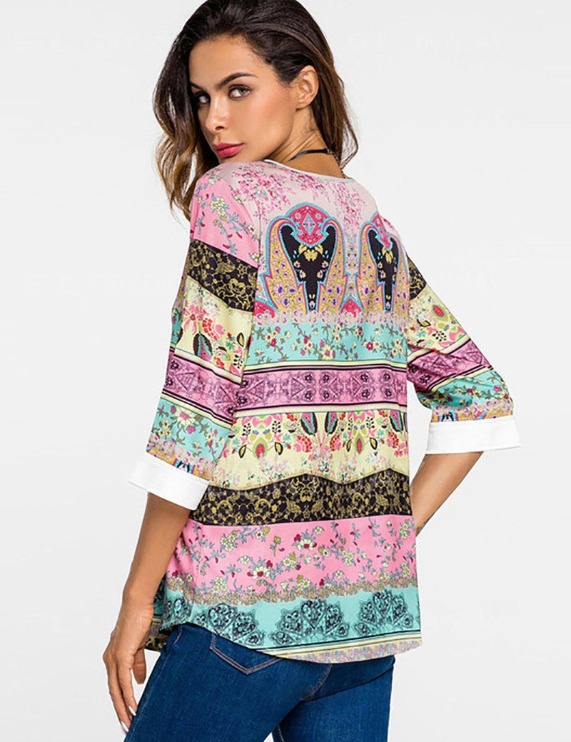 Casual Geometric Loose Round Neck Half Sleeve Blouse