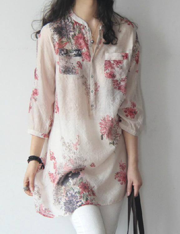 Spring Summer Cotton/Linen Band Collar Floral Printed Long Sleeve Blouse