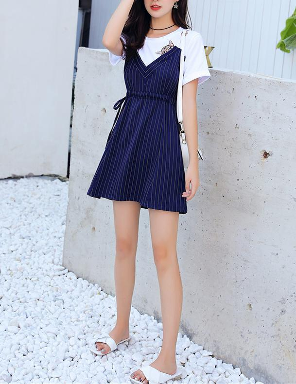 Two Piece Short Sleeve Slim Waist Navy Striped Mini Dress