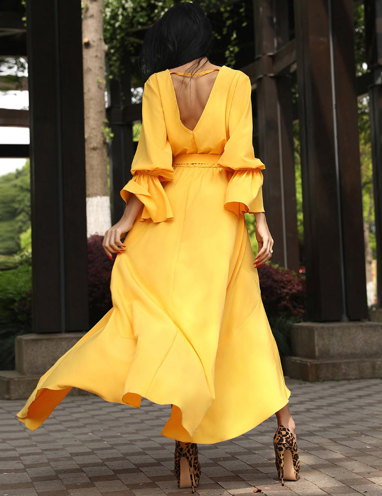 V-Neck Open Back Yellow Irregular Belted Wrap Maxi Dress