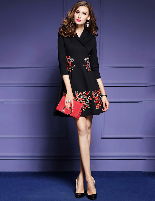 V-Neck Seven-point Sleeve Embroidered Mini Elegant Dress