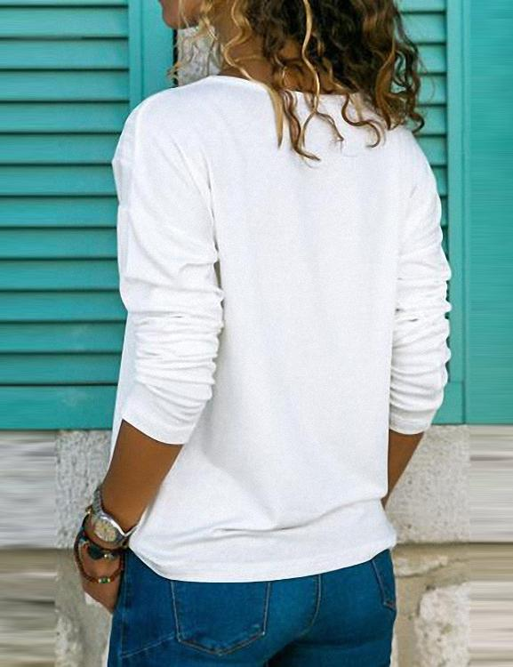 V Neck Long Sleeve Plain Casual Blouse
