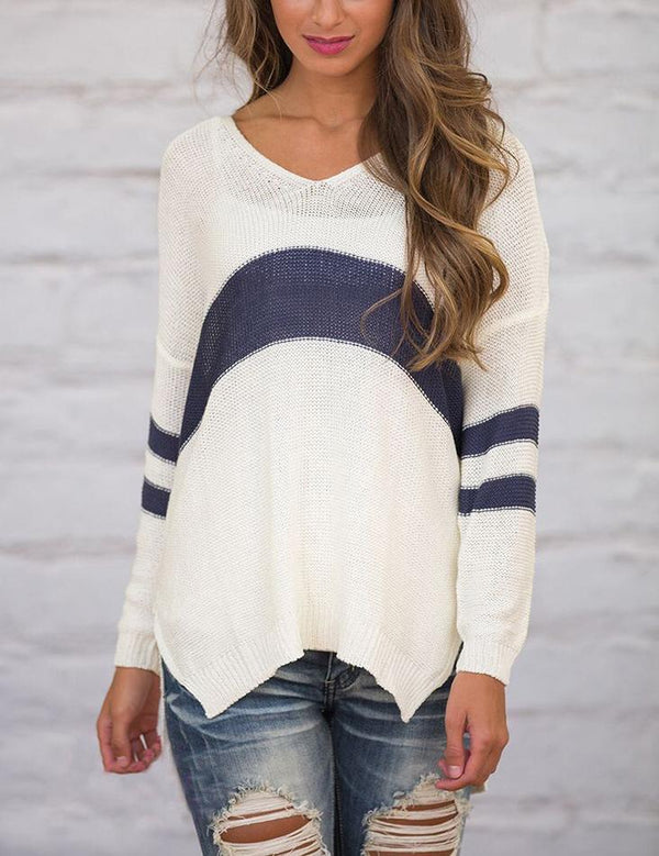 V Neck Long Sleeve Slit Hem Casual Loose Striped Sweater