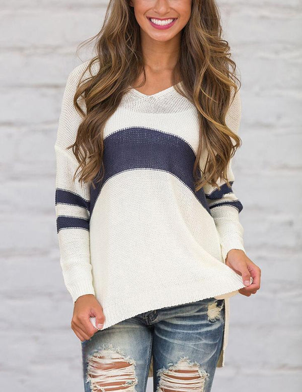 V Neck Long Sleeve Slit Hem Casual Striped Sweater