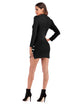 Vintage Long Sleeve Buttons Knit Bodycon Black Cheongsam Dress
