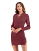 Vintage Long Sleeve Buttons Knit Bodycon Cheongsam Dress