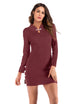 Vintage Long Sleeve Buttons Knit Bodycon Mini Cheongsam Dress