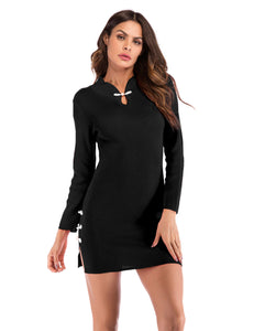 Vintage Long Sleeve Buttons Knit Bodycon Split Black Cheongsam Dress