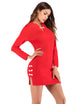 Vintage Long Sleeve Buttons Knit Bodycon Split Cheongsam Dress