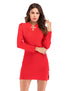 Vintage Long Sleeve Buttons Knit Bodycon Split Mini Cheongsam Dress