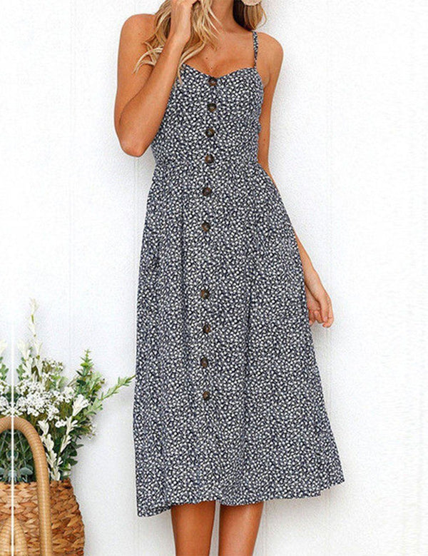 National Style Spaghetti Strap Button Beach Midi Dress