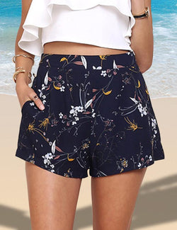 Floral Printed High Waist navy Shorts - Fancyqube