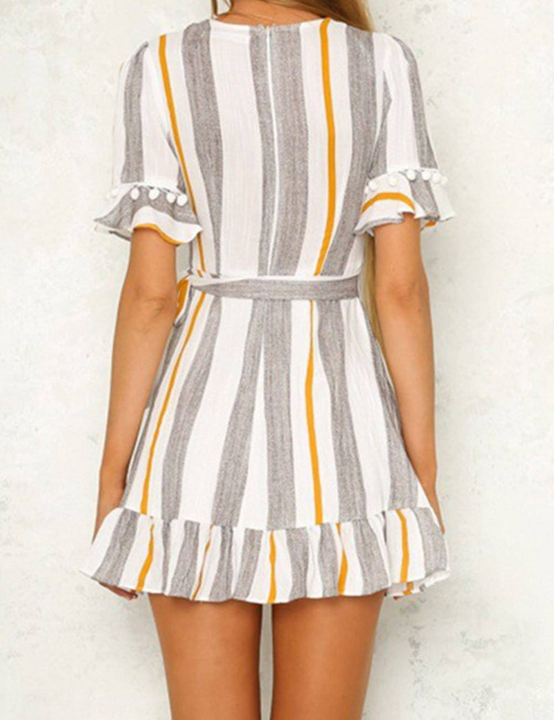 Deep V Neck Multicolor Stripe Print Stitch Mini dress