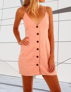 Slip Sexy Button Back Bowknot Mini Dress