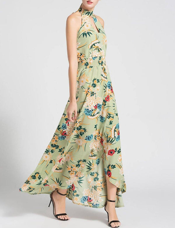New Summer Slip Irregular Hem Green Print Sexy Maxi Dress - Fancyqube