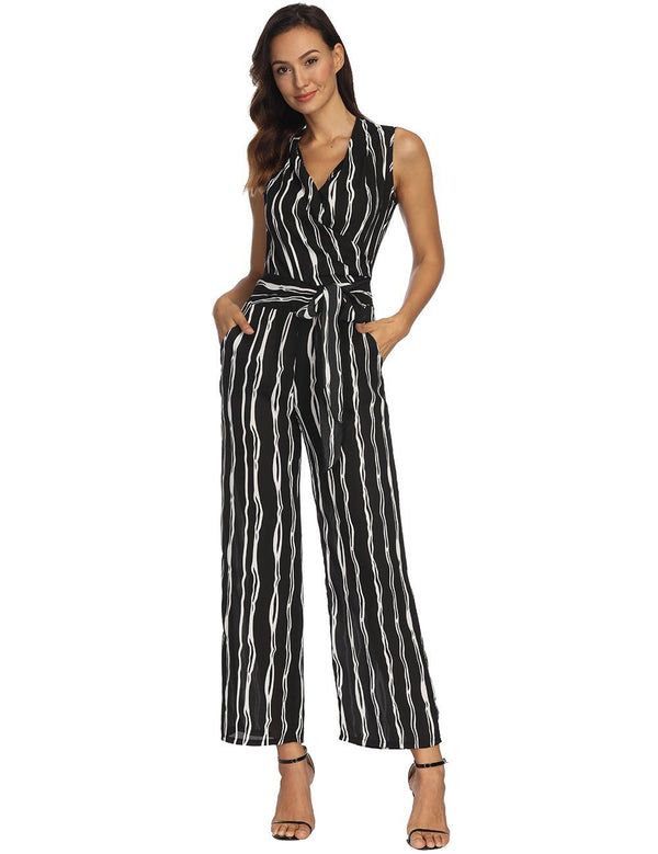 V-Neck Sleeveless Sexy Striped Jumpsuit