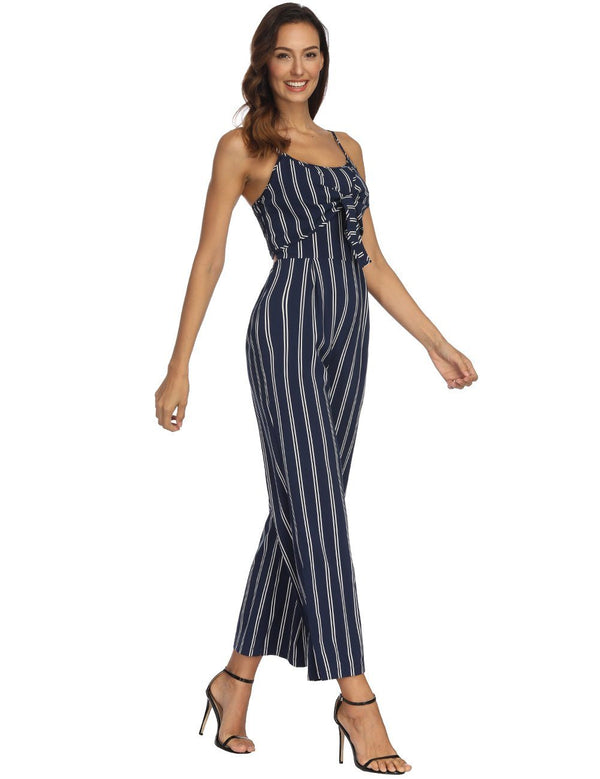 Sexy Slip Striped Wide Legs Jumpsuit