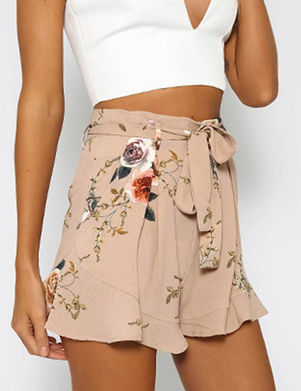 Printed high-waisted loose pleated edge Sexy beach shorts - Fancyqube