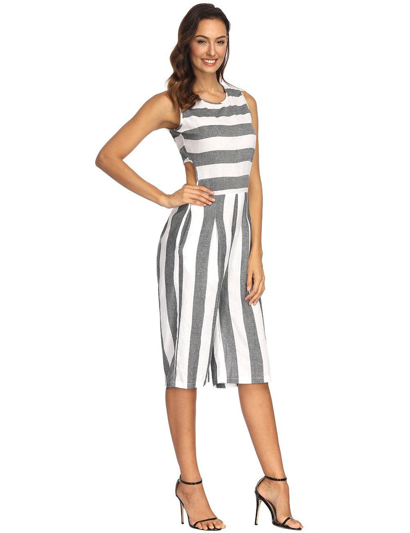 New Sexy Sleeveless Striped Jumpsuit