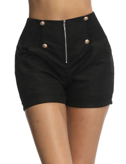 Hand-stitched Button Front Zipper Black shorts - Fancyqube