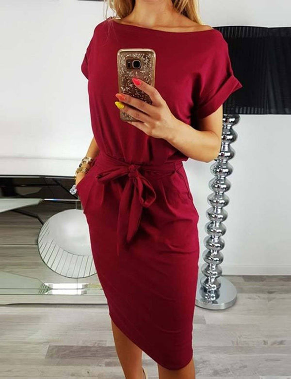 Slim Waist Sexy Tied Belt Solid Midi Dress