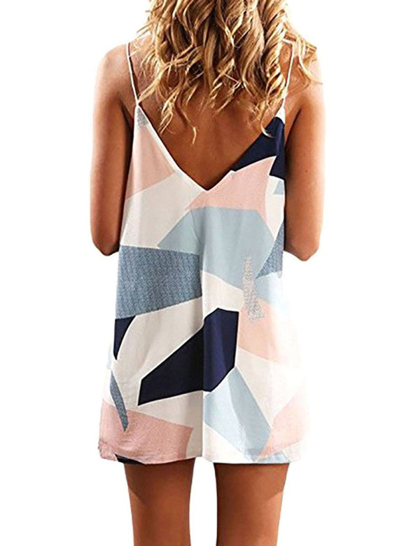 Geometric Print V-neck Fashion Spaghetti Strap Mini Dress