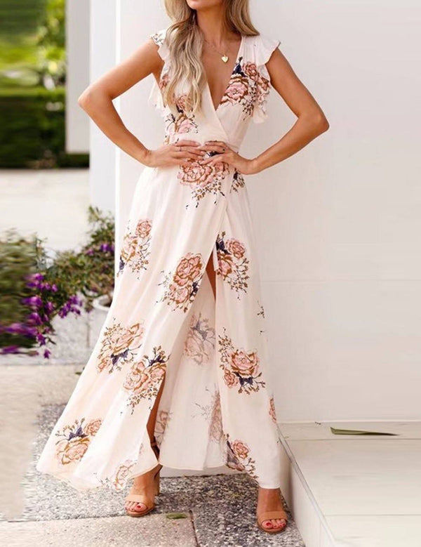 Sexy V-Neck Ruffled Split Floral Printed Chiffon Maxi Dress - Fancyqube