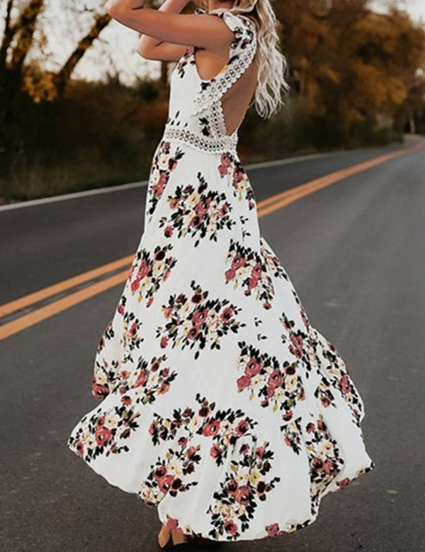 Irregular Swallowtail Open Back Sweet Print Maxi Dress