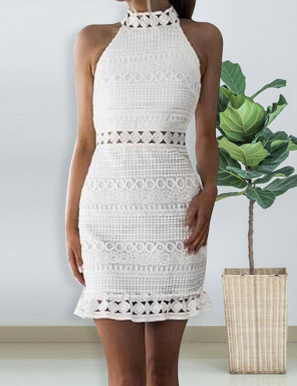 Sheath Hollow-out White Lace Sexy Mini Dress - Fancyqube
