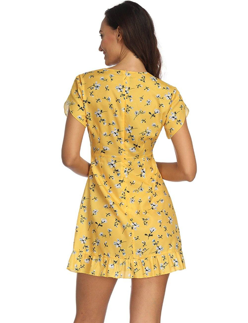 Sexy V-Neck Straps Printed Yellow Mini Dress