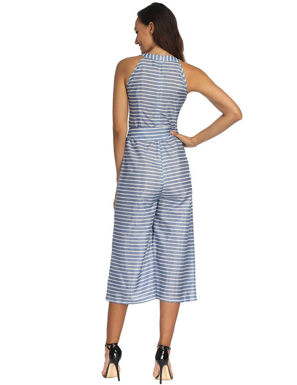 Sexy Off Shoulder Slim Waist Tied Belt Striped Comfortable Jumpsuit