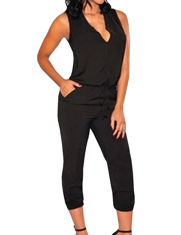 V-Neck Sleeveless Sexy Jumpsuit