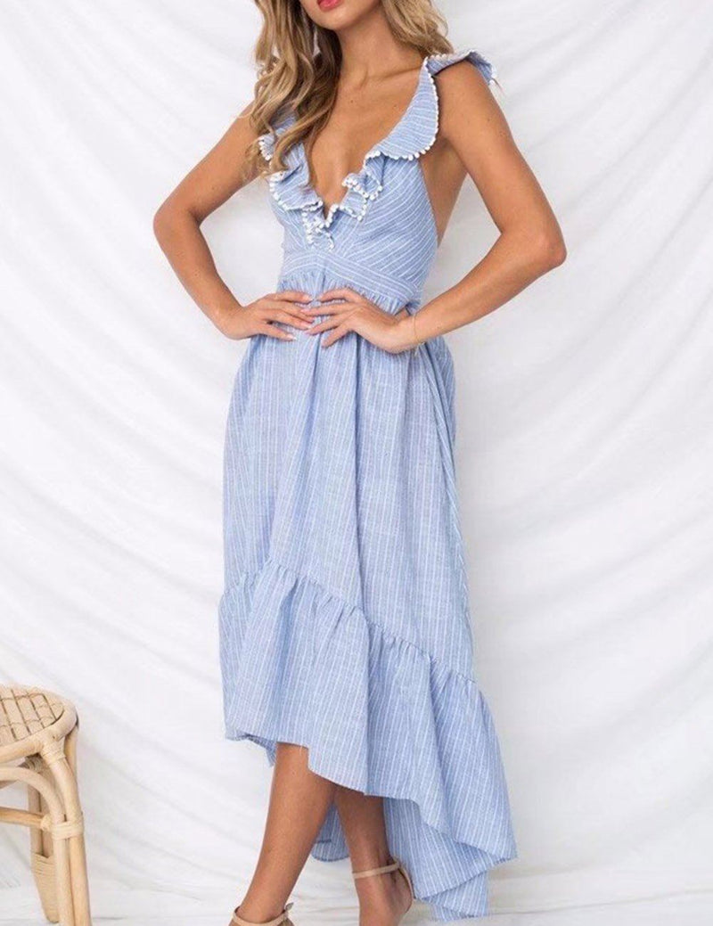 Deep V-Neck Irregular Striped Ruffle Lace-Up Ankle Length Maxi Dress