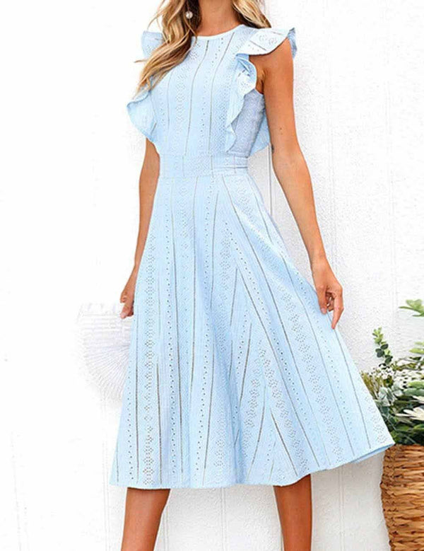 A-line Round Neck Fashion Ruffle Elegant Midi Dress